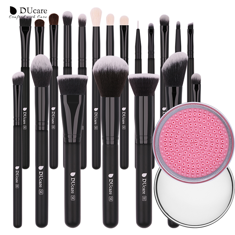 DUcare 20PCS  Professional Make up Brushes With 1pcs Brush Clean Box MakeUp Brushes Set Natural Goat Hair Cosmetics Brush Set