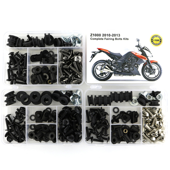 цена на For Kawasaki Z1000 2010 2011 2012 2013 Motorcycle Complete Full Fairing Bolts Kit Clips Cowling Screws Nuts  Steel