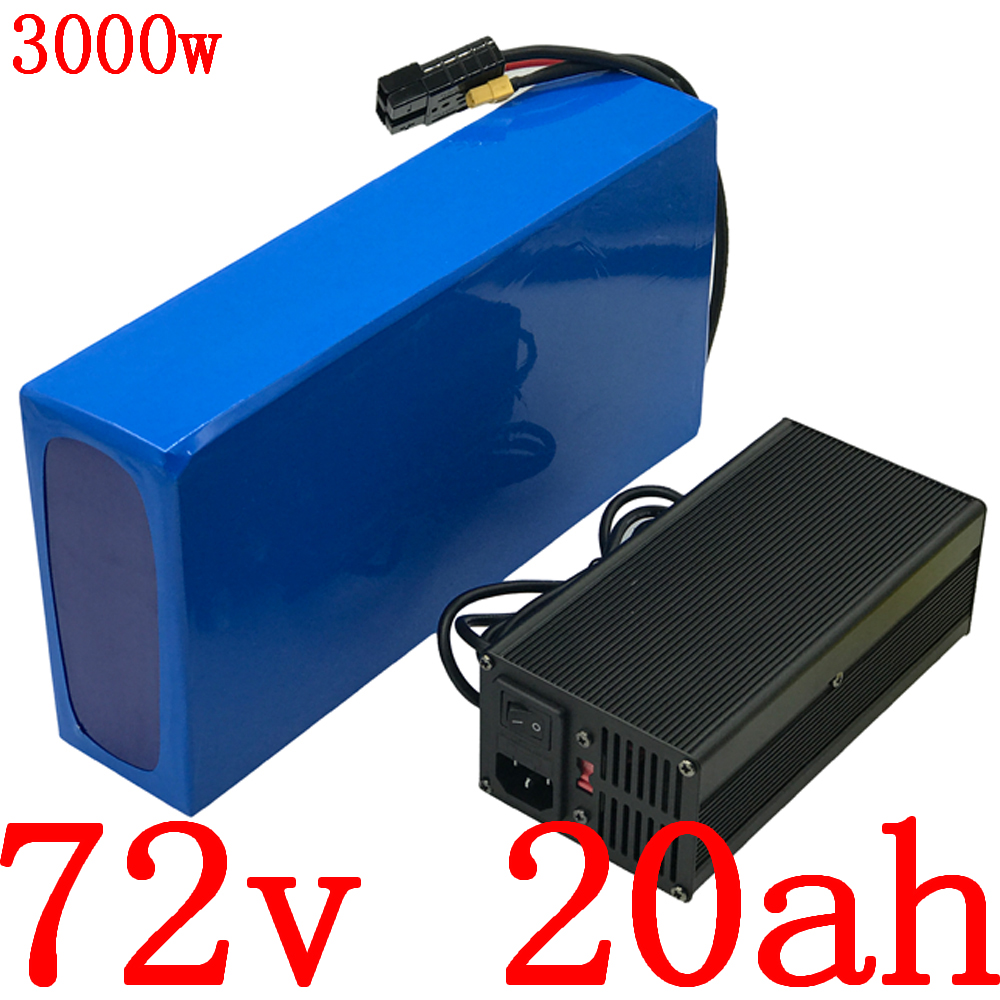 72V battery pack 72V 20AH 2000W 3000W electric bike battery 72V 20AH lithium battery pack with 50A BMS+ 84V 5A charger free duty