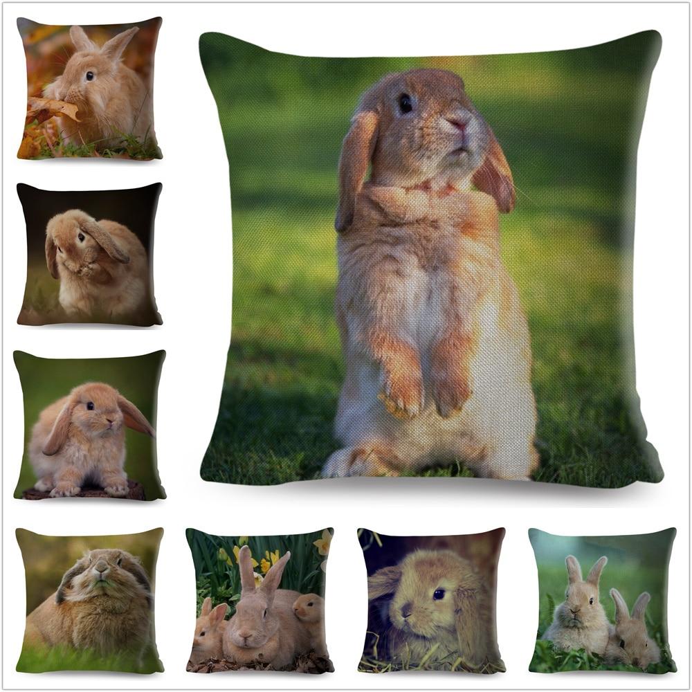 Cute Rabbit Bunny Cushion Cover Pillowcase Pillow Covers For Sofa Car Home Decor Pet Animal Pillow Cover Cotton Linen 45x45 Cm
