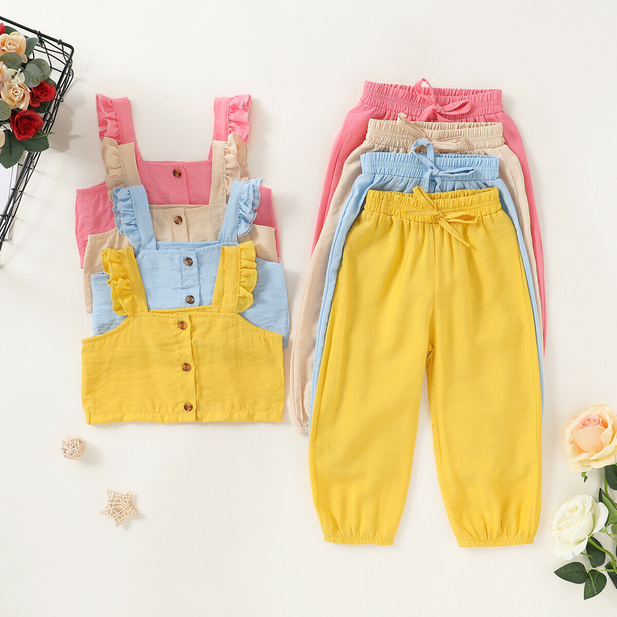 Pudcoco Toddler Baby Girl Clothes Solid Color Sleeveless Strap Crop Button Tops Long Pants 2Pcs Outfits Clothes Tracksuit
