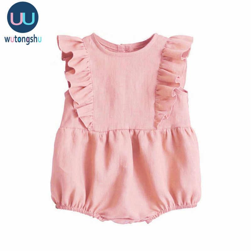 Baby Strampler Sommer Rüschen Ärmelloses Kinder Onesie Neugeborenen Baby Mädchen Kleidung Vintage Prinzessin Mädchen Overall Infant Outfits