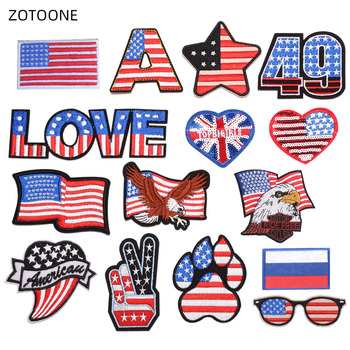 ZOTOONE Iron on American Flag Patches for Clothes DIY Applique Embroidered Patriotic USA Military Tactics Eagle Patch Stickers H