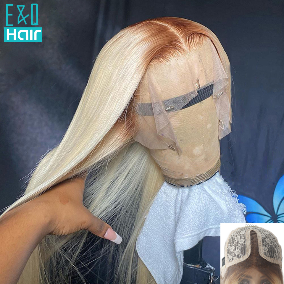 4/613 mel loira 13x4 frente do laço perucas de cabelo humano para preto feminino preplucked brasileiro remy em linha reta perucas de renda transparente 150%