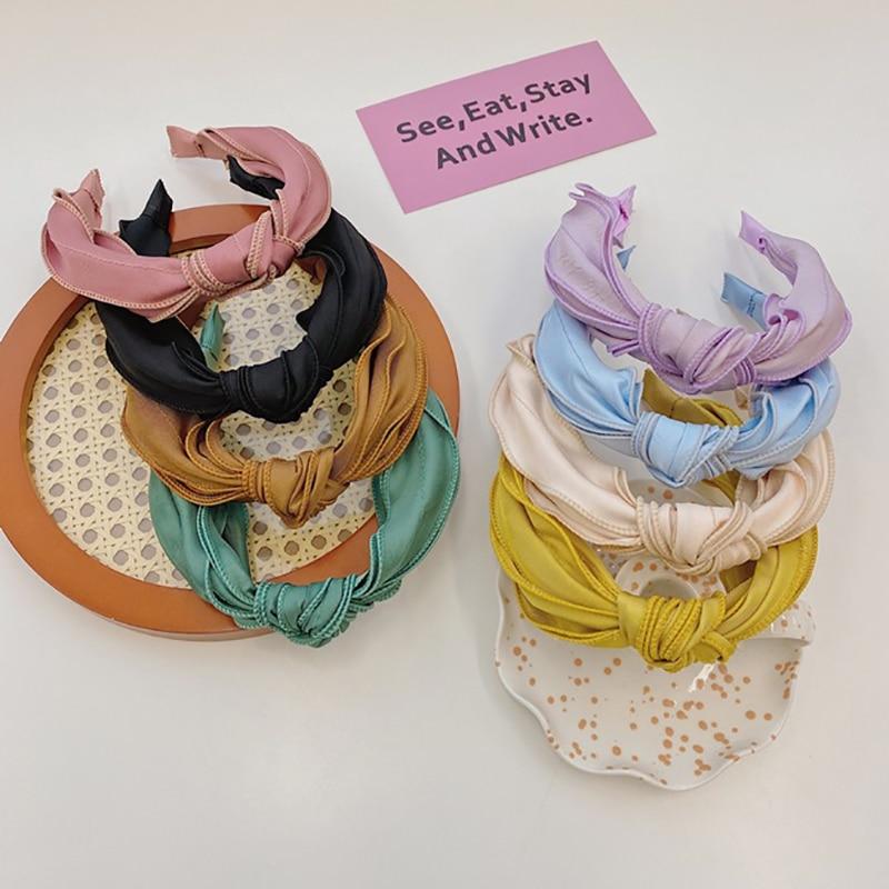 Купить женский обруч для волос oaoleer однотонный из атласной ткани