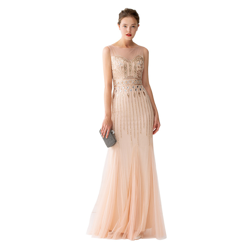 Image 5 - Mermaid Evening Dresses Floor Length Tulle Beaded Champagne  Evening Dresses Sleeveless Evening Dresses Long Vestido De FestaEvening  Dresses