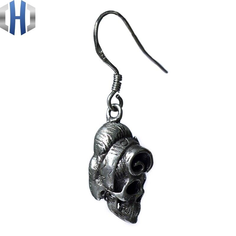 Original Design fait à la main en argent crâne boucles d'oreilles personnalité oreille crochet 925 en argent Sterling boucles d'oreilles femme rétro - 2