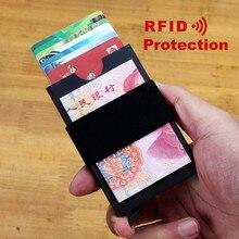 купить 2019 New Aluminum Mini Card Holder RFID Blocking Wallet Pop Up Metal Men Credit ID Card Case Small Slim Purse with Elastic Band по цене 389.39 рублей