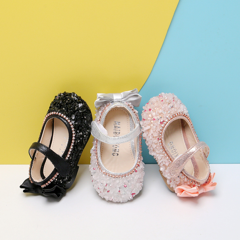 Spring Autumn New Fashion Bling Baby Girls Shallow Flats Shoes Sequins Princess Party Dress Shoe Infant Toddler First Walkers