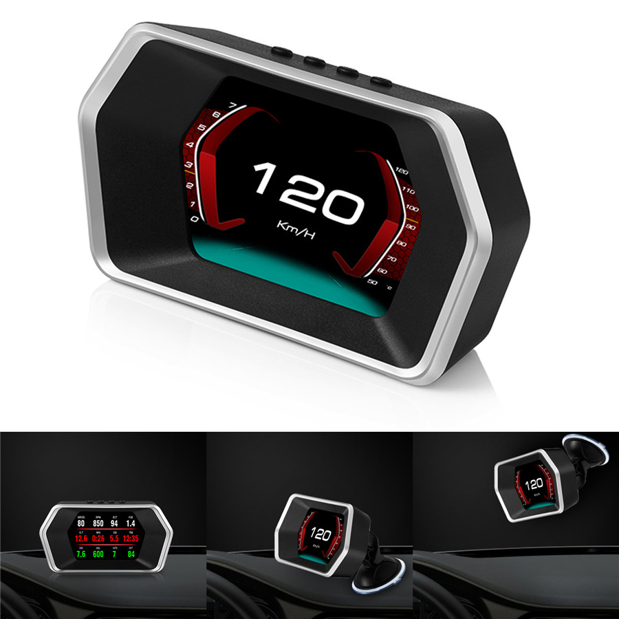 Car Dual System HUD Digital Computer OBD2/GPS Speedometer Voltage Fuel Consumption ECT RPM Gauge