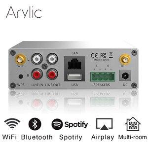 Akrylowy A50 Mini domowy odbiornik WiFi i Bluetooth HiFi power Stereo klasy D cyfrowy wielopokojowy wzmacniacz audio z usb