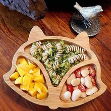 Tableware Spoon-Set Food-Dishes-Plate Eating-Bowl Baby-Plate Wooden Kids Feeding Cartoon
