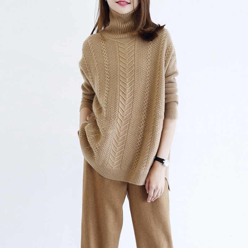 סתיו וחורף חדש סגנון עבה loose-fit קשמיר סוודר נשים קוריאני בסגנון כבל עצלן רוח בסוודרים סוודר נשים של רופף
