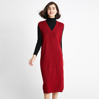 chic casual Winter oversize straight Sleeveless Sweater Dress Women thick Knit Midi Dress female split side loose sweater dress rolled cuff pockets side split curved dress