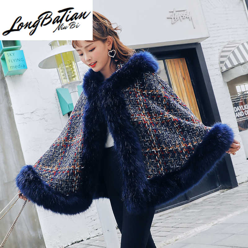 2020 Winter Poncho Vrouwen Cape Plus Size Losse Mantel Grote Vos Bontkraag Capuchon Casual Ponches En Capes Jas Vrouwelijke tweed Uitloper