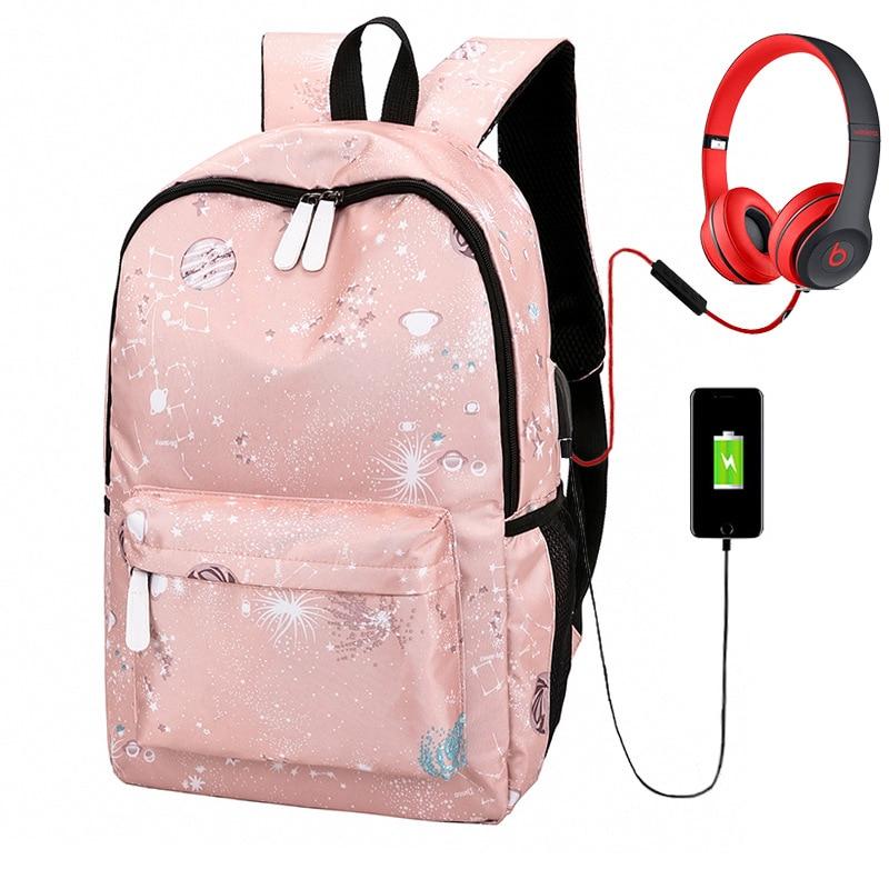 women canvas backpack usb charging travel school bags for teenage girls female fashion bag