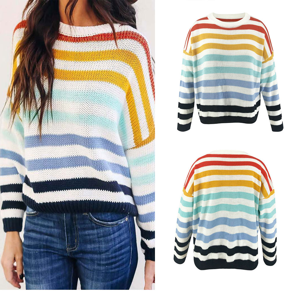 Fashion Women Knit Sweater Colorful Striped Loose Sweater Round Neck Long Sleeve Tops GM