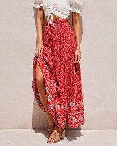 Image 5 - בציר שיק נשים אדום פרחוני הדפסת החוף בוהמי חצאית גבוהה אלסטי מותניים זהורית כותנה Boho מקסי חצאיות Femme