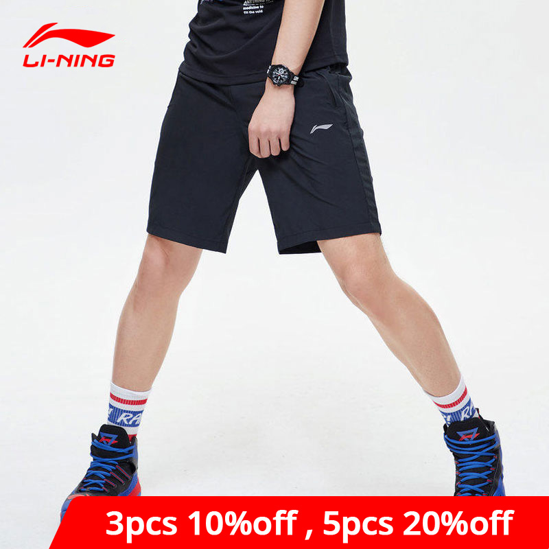 Li-Ning Men Training Track Shorts 88.8% Polyester 11.2% Spandex Regular Fit Li Ning LiNing Fitness Sports Shorts AKSP067 MKD1632