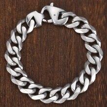 Davieslee Mens Bracelet 316L Stainless Steel Matte Brushed Bracelet 14.5mm Silver Tone Cut Curb Cuban Link equte bssm5c3 316l stainless steel golden link bracelet 9