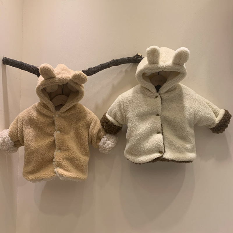 Winter Kids Baby Boys And Girls Coat Plush Fleece Thickened Warm Coat Double-sided Casual Hooded Cotton Padded Jacket Clothes