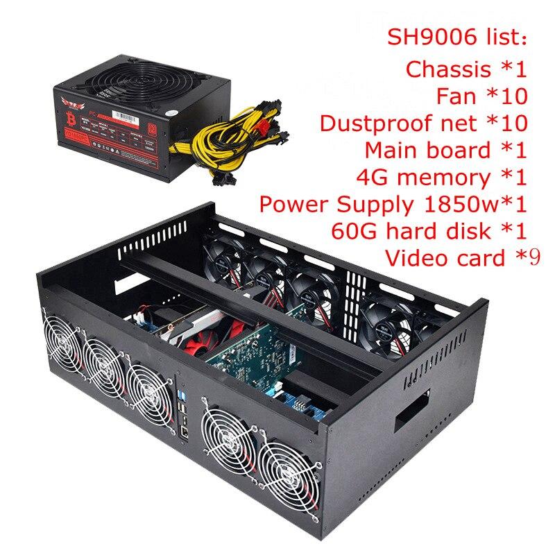 Usb do komputera górnik przypadku ETH maszyna górnicza ATX obudowa serwera 9 GPU koparka bitcoinów poziome otwarta ramka dla GTX1080 1070 1060 TI w