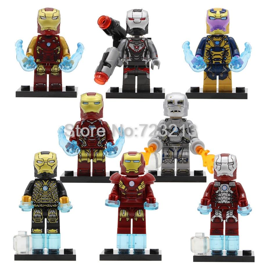 Iron Man Super Hero Figure Thanos Ironman War Machine Mark 46 1 5 41 7 85 Tony Stark Model Building Blocks Set Toys Legoing