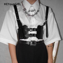 Heyoungirl Black Faux Leather Corset Riem Harajuku Punk Backless Pu Brede Riem Vrouwen Mode Tailleband Buckle Up Streetwear 2020(China)