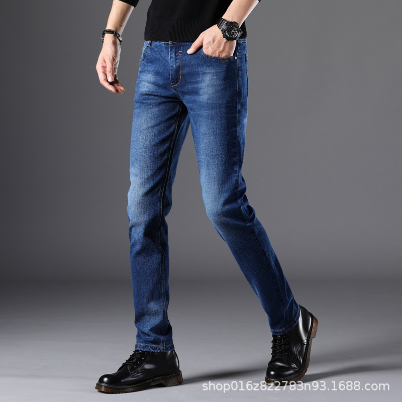 [] 2019 Autumn And Winter Straight-Cut Jeans Mainstream Elasticity Slim Models Fashion Man Men's Trousers 2 PCs Color 851
