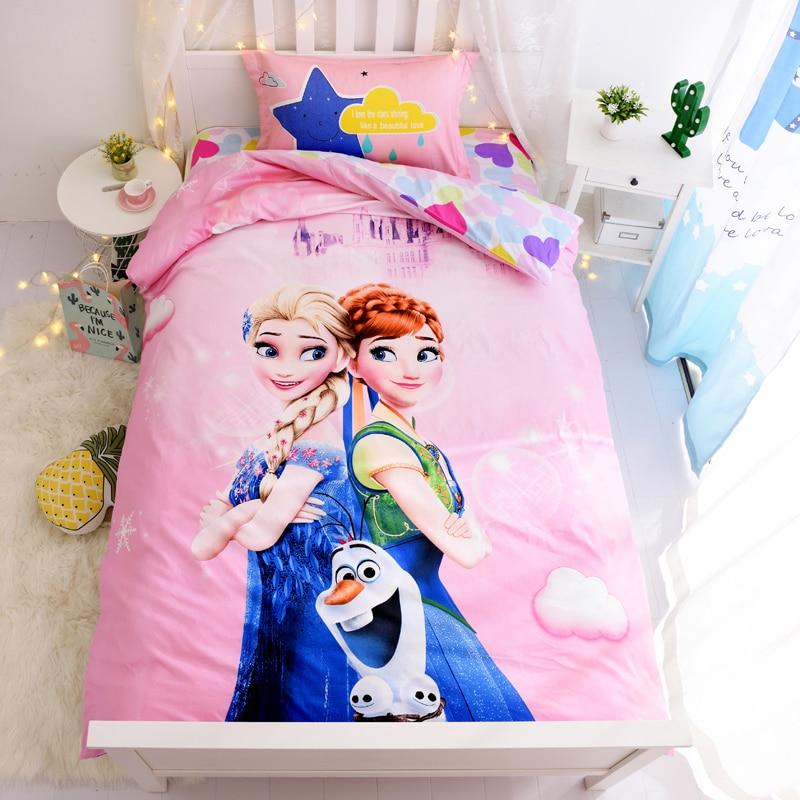 Disney Frozen Queen Elsa Anna Bedding Set Princess Down Duvet Cover Pillowcase Children Girls Bedroom Decoration Home Spin
