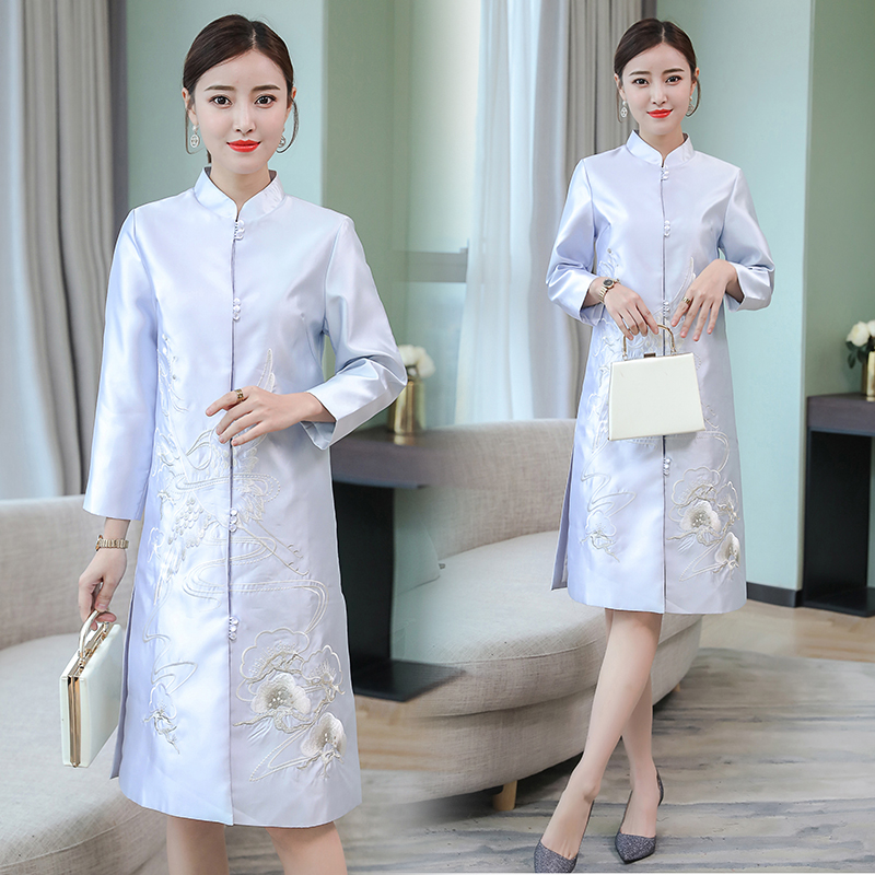 2020 coats for women vintage royal embroidery chinese style flowers lady loose trench coat female traditional chinese clothing