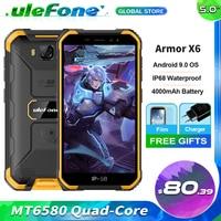 Ulefone armadura X6 IP68 impermeable teléfono resistente MT6580 Android 9,0 Quad-Core 4000mAh 2GB 16GB 3G Red Global teléfono móvil