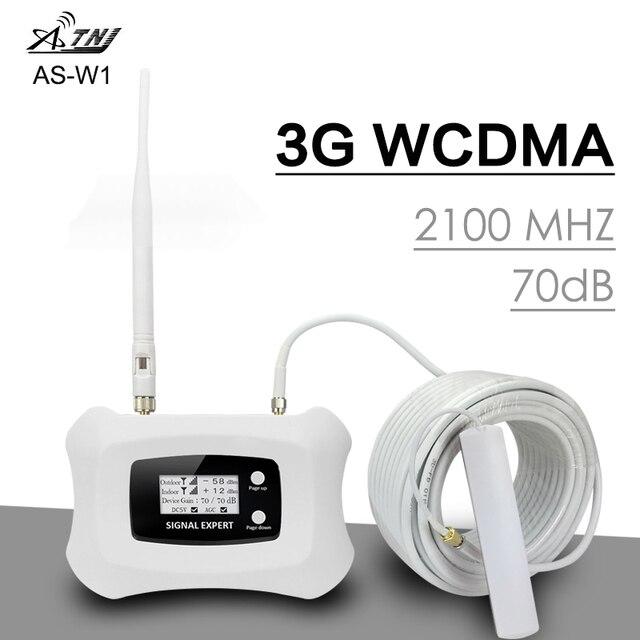 스마트 3G WCDMA 2100 휴대 전화 신호 리피터 밴드 1 UMTS 3G 2100MHz 신호 증폭기 70dB 이득 LCD 디스플레이 3G WCDMA 부스터