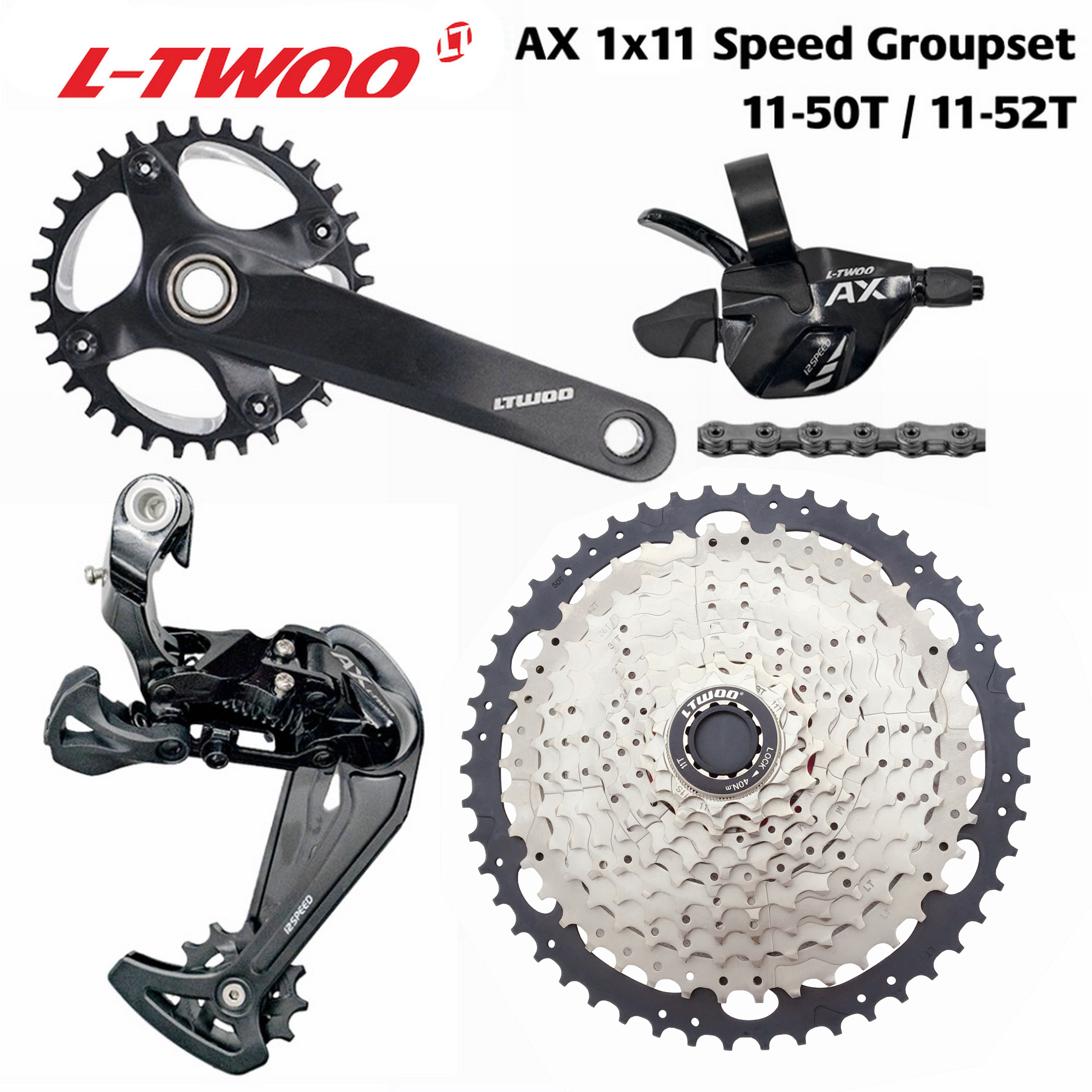 LTWOO MTB 1x11 Speed Groupset  AX11 46T 50T 52T Cassette//Chainring 11S group