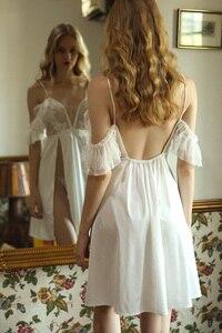 Image 5 - Seksowna bielizna nocna koszule nocne siatki koronki satyna krótki sukienka Sexy odzież do snu kobiety Backless biały głębokie V koszula nocna śpiąca sukienka