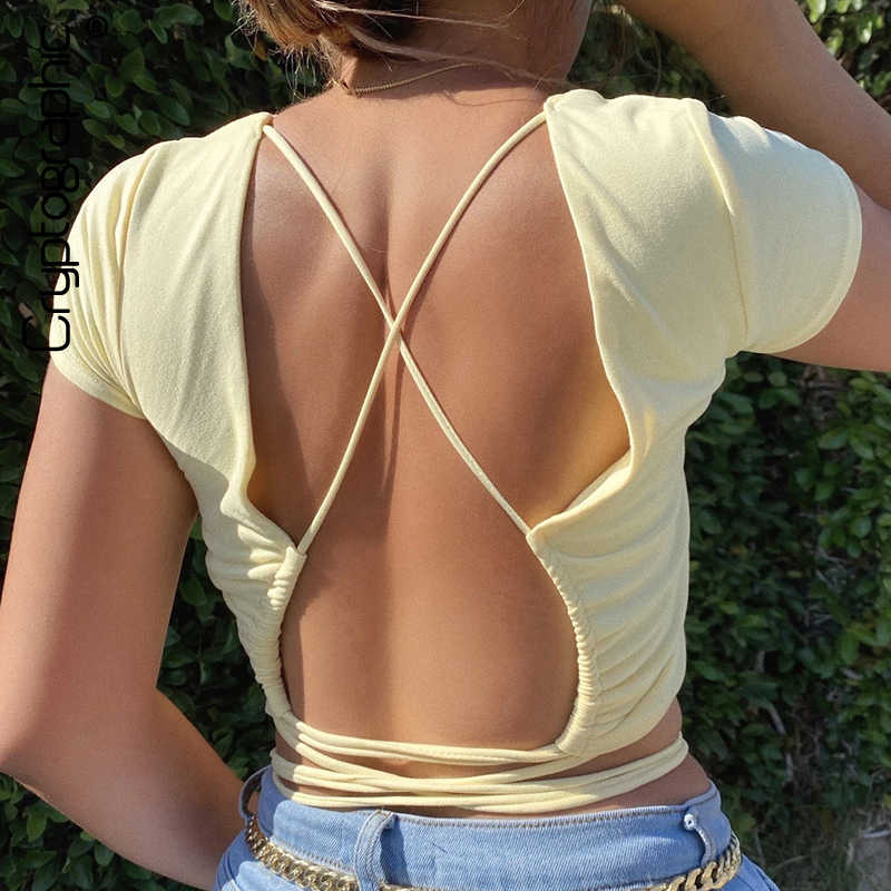 Cryptografische Fashion Zomer Solid Lace Up T-shirts Sexy Backless Vrouwen Tops Basic T-shirt Slim Vrouwelijke Cropped Tops Streetwear