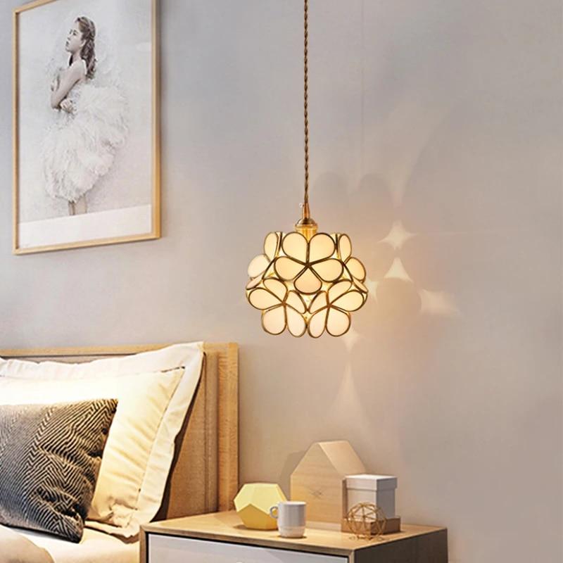 Cherry Blossoms Glass Pendant Lights Flower Brass Copper Pendant Sconce Lamp Creative E27 Hanging Lights Kitchen Bedside Light Pendant Lights Aliexpress