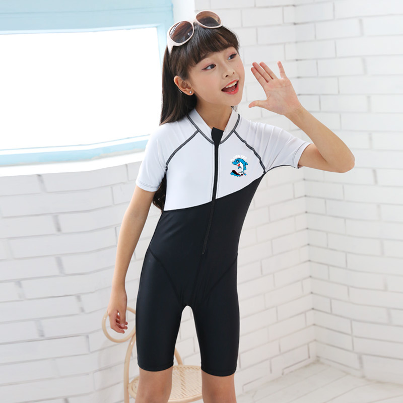 2019 New Style Profession KID'S Swimwear One-piece Short Sleeve Boxer Girls Big Boy Teenager Tour Bathing Suit