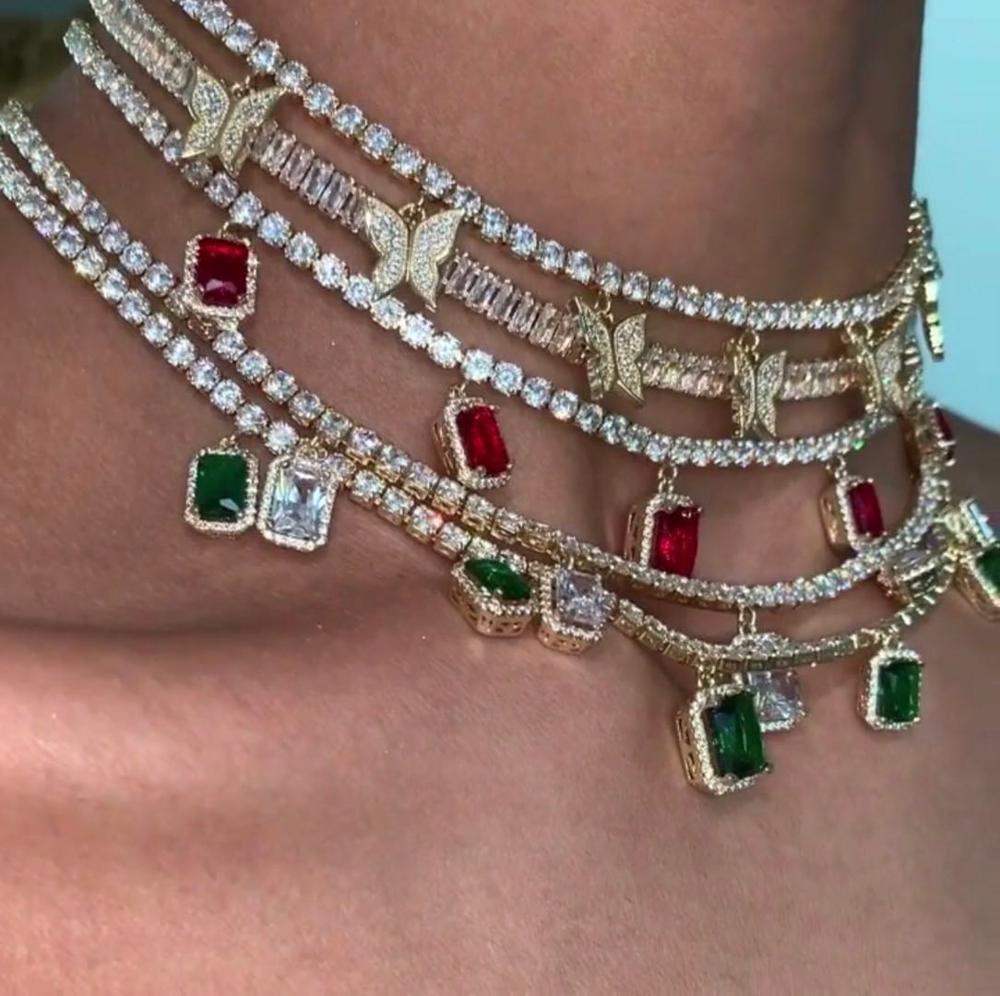 Heart arrow cz tennis chain with luxury drip cz butterfly charm 32+10cm choker necklaces iced out bling multilayer women jewelry