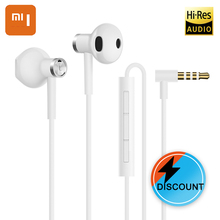 XIAOMI Original Dual Driver Earphones Half In-Ear Universal 3.5mm Black and White for Mi4 4C 4 S 5 5 S 5X5 S e3x dag41 s original