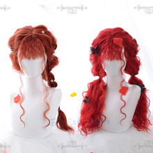 Mermaid Red Lolita Pruik Harajuku Fee Lange Krullend Zoete Pony Koreaanse Japanse Meisjes Cosplay Synthetisch Haar Brave Merida Pruik(China)