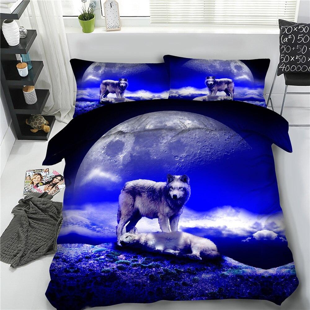 4/6 sztuk wilk pościel królowej king size zwierząt kołdra pokrywa zestaw niebieski galaxy księżyc wilki łóżko pościel pojedyncze pełna pościel 3D