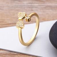 Charm-anillo de compromiso de circonia cúbica, anillo abierto de cristal austriaco, ajustable, dedo Color oro, joyería de circonia cúbica