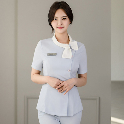 Korean cosmetologist work clothes tattoo manicure hairdresser dress summer professional pants shop manager clothing