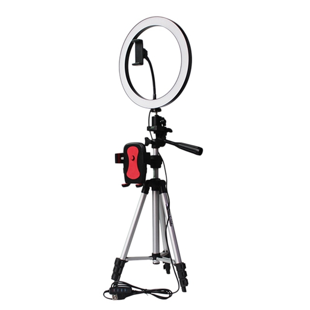 FFYY Tripod Phone Holder Clip With Led Ring Light Camera Photography Annular Lamp Studio Ringlight For Youtube Makeup Phone Self