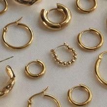 Gold Silber Farbe Edelstahl Hoop Ohrringe für Frauen Kleine Einfache Runde Kreis Huggies Ohr Ringe Steampunk Zubehör