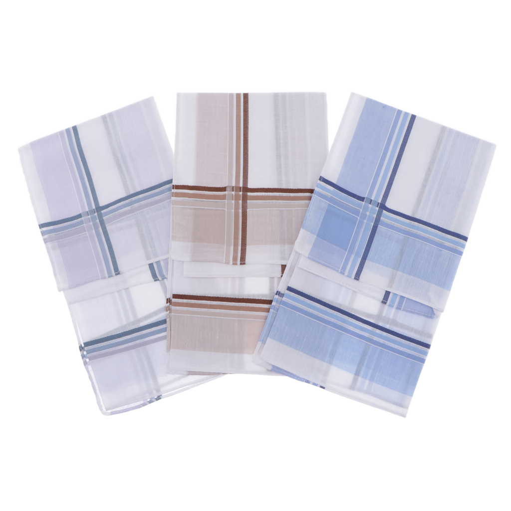 3x Mens Handkerchiefs Plaids Square Hanky Washable Soft Kerchiefs Hankie Classic Plaid Handkerchief Pocket Hanky