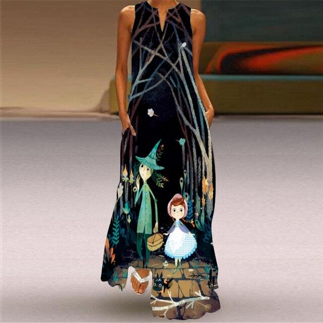 WAYOFLOVE Tiger Printed Dress 2021 Vintage V Neck Casual Breathable Long Dresses Summer Woman Sleeveless Beach Maxi Dress Women 5