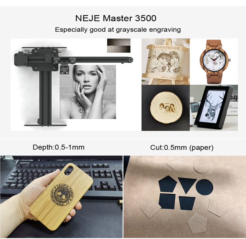 NEJE Master 3500MW 43*27cm Mini Laser Engraving Machine 2Axis DIY Engraver Desktop Wood Router/Cutter/Printer+ Laser Goggles