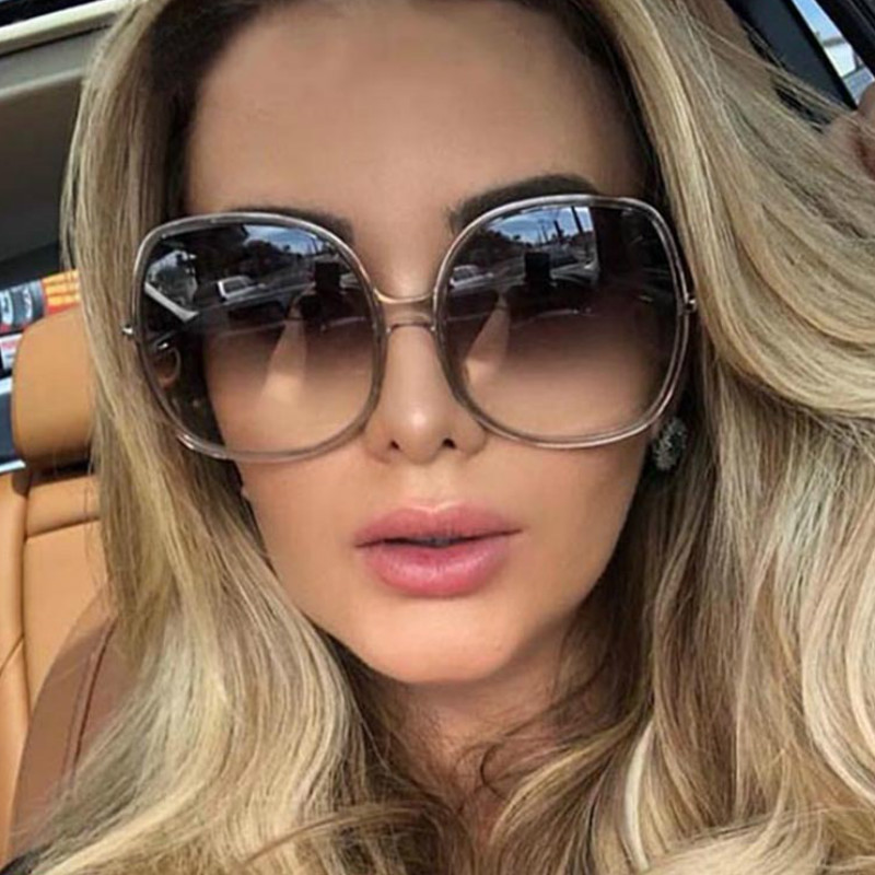 Oversized Round Sunglasses Women Okulary NEW Luxury Brand Fashion Ladies Men Sun Glasses Gafas Shade De Sol UV400